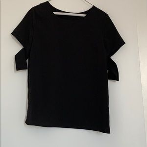 Black T with Sleeve and back cutout